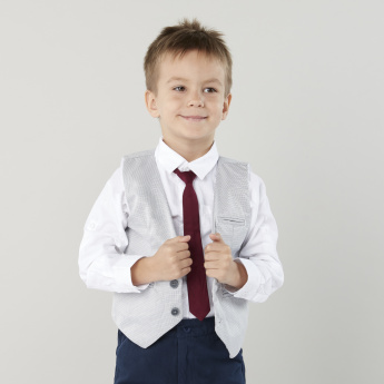 Juniors Solid Shirt with Long Sleeves and Chest Pocket Detail