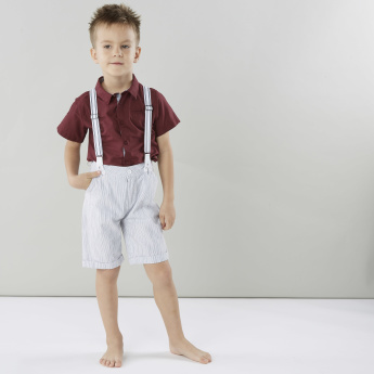 Juniors Striped Shorts with Pocket Detail and Suspenders