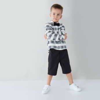 Juniors Chequered Long Sleeves Shirt with Solid Shorts