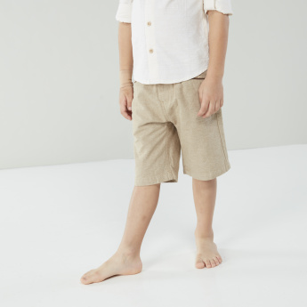 Juniors Long Sleeves Shirt with Plain Shorts