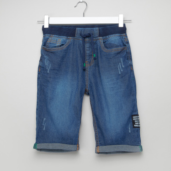 Juniors Denim Shorts with Ribbed Waistband and Drawstring