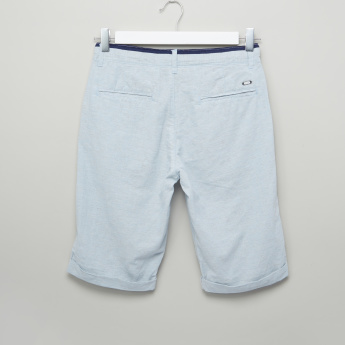 Eligo Textured Shorts with Button Closure and Pocket Detail