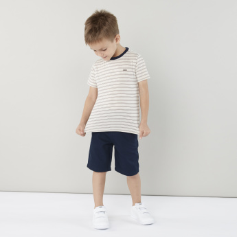 Eligo Striped Round Neck T-shirt with Shorts