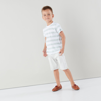 Eligo Striped Short Sleeves T-shirt with Pocket Detail Shorts