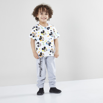Mickey Mouse Printed Melange Cuff Pants