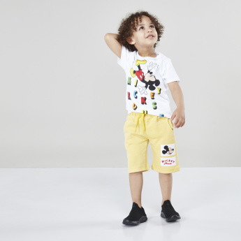 Mickey Mouse Applique Detail Shorts with Drawstring