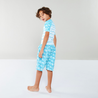 Junior Printed T-Shirt with Pocket Detail Shorts