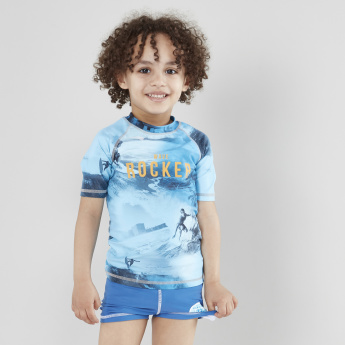 Juniors Printed Rash Guard T-Shirt with Shorts
