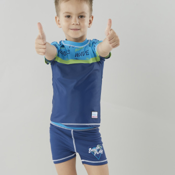 Juniors Printed Swimming T-Shirt with Shorts