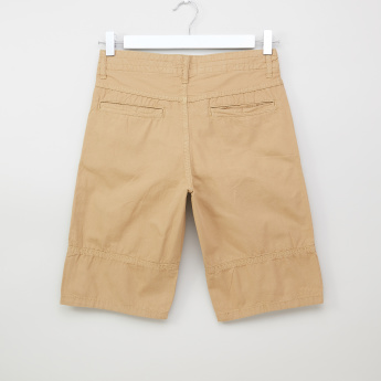 Posh Clothing Flat-Front Cotton Shorts with Pockets