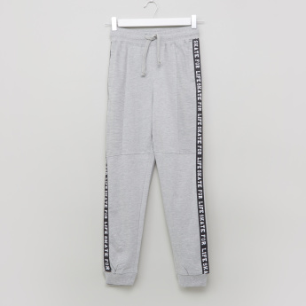 Posh Printed Tape Detail Jog Pants with Drawstring