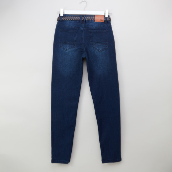 Posh Clothing Flat-Front Denim Pants with Belt