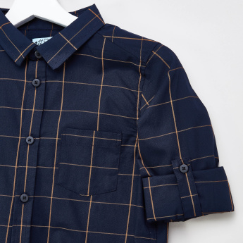 Posh Clothing Checked Shirt with Patch Pocket and Roll-Up Tab Sleeves