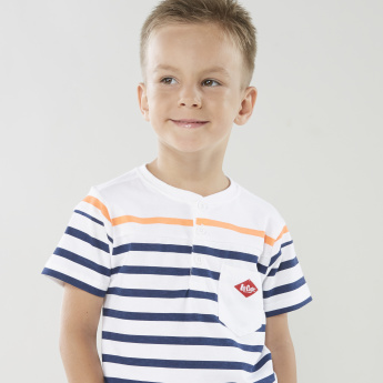 Lee Cooper Striped T-shirt with Henley Neck and Short Sleeves
