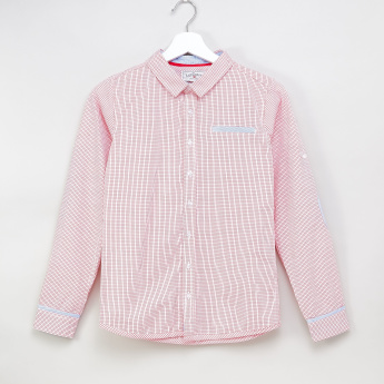 Lee Cooper Checked Collared Shirt with Long Sleeves and Elbow Patches