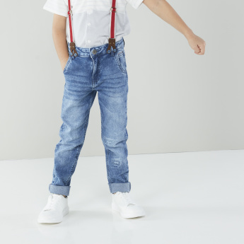 Lee Cooper Distressed Jeans with Pocket Detail and Suspenders