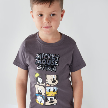 Mickey Mouse and Friends Sequin and Graphic Printed Round Neck T-shirt