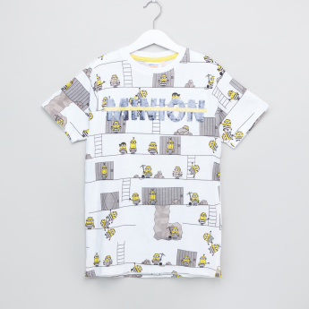 Minions Graphic Printed Round Neck Short Sleeves T-Shirt