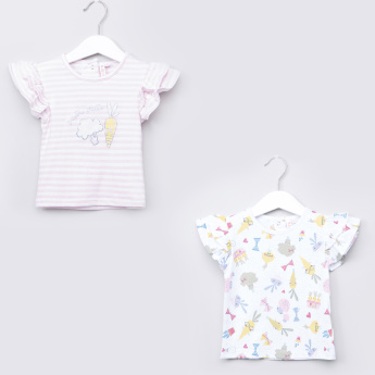 Juniors Printed T-shirt with Ruffled Cap Sleeves - Set of 2