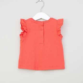 Juniors Graphic Printed T-shirt with Ruffle Detail