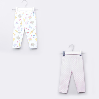 Juniors Printed Cotton Leggings - Set of 2
