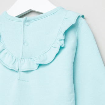 Juniors Printed Frill Detail Sweatshirt
