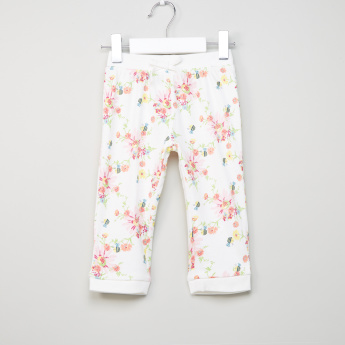 Juniors Floral Printed Hooded Jacket with Jog Pants