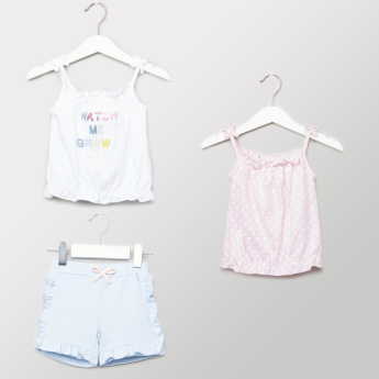 Juniors 3-Piece Printed Tops and Shorts Set