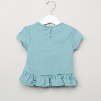 Juniors 2-Piece Printed Tops and Chambray Shorts