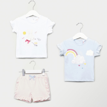 Juniors 3-Piece Printed T-shirts and Shorts Set