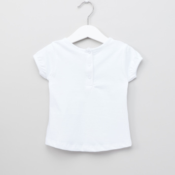 Juniors Printed Bow Detail Round Neck T-Shirt