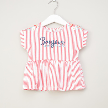 Juniors Striped Top with Embroidery