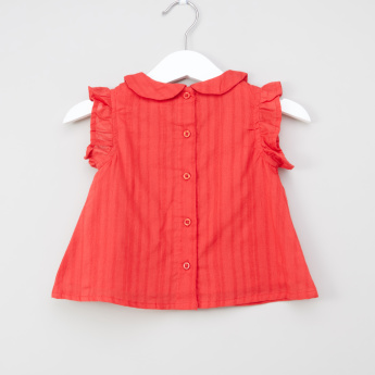 Juniors Stitch Detail Top with Peter Pan Collar and Button Closure