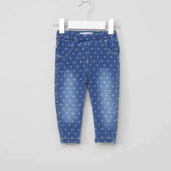 Juniors Polka Pot Printed Pants with Elasticised Waistband