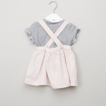 Juniors Striped Top with Embroidered Pinafore Dress