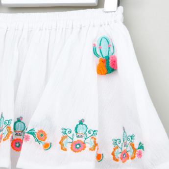 Juniors Embroidered Top with Skirt