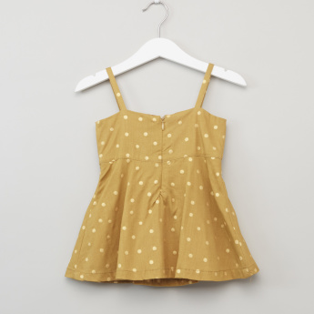 Juniors Polka Dot Pinafore with Short Sleeves T-shirt
