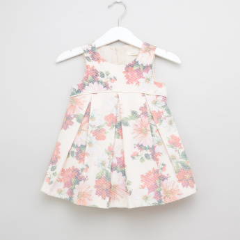 Juniors Floral Printed Sleeveless Flared Dress