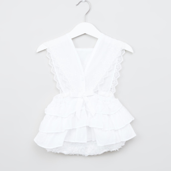 Juniors Lace Sleeveless Romper with Frill Detail