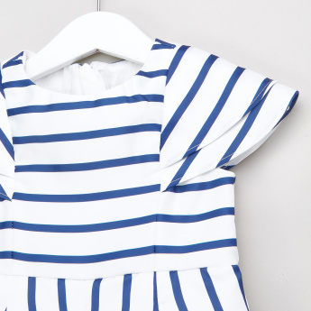 Juniors Striped Romper with Bow Detail