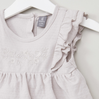 Giggles Solid Layered Top with Cap Sleeves and Embroidery