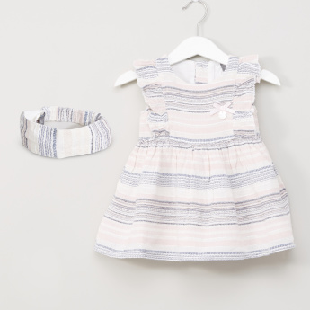 Giggles Striped Frill Detail Dress with Headband