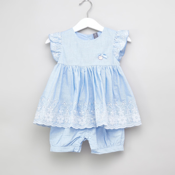 Juniors Schiffli Detail Blouse and Shorts Set