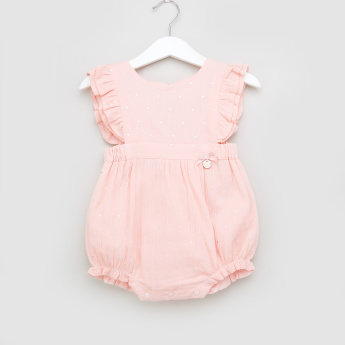 Juniors Ruffle Detail Romper with Cap