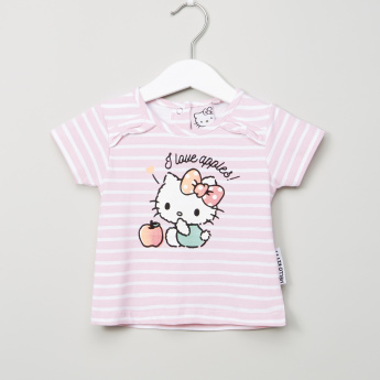 Sanrio Graphic Printed Striped Round Neck T-shirt