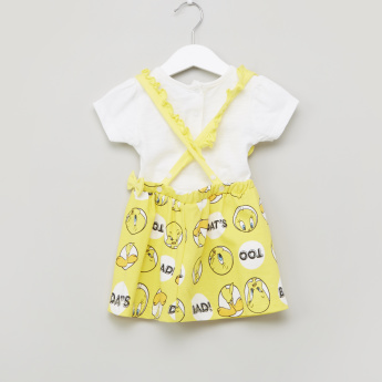 Tweety Printed Round Neck Top with Skirt