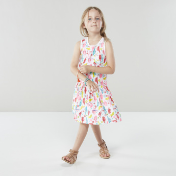 Juniors Sleeveless Printed A-line Dress