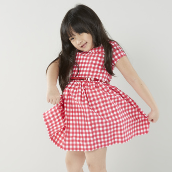 Juniors Check Designed Dress with Round Neck and Short sleeves