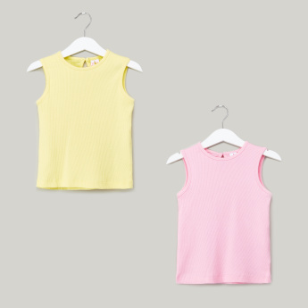 Juniors Solid Sleevless Cotton T-shirt with Round Neck - Set of 2