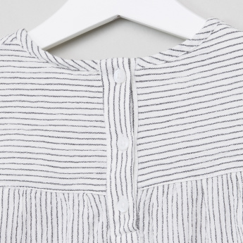 Juniors Striped and Embroidered Round Neck Top